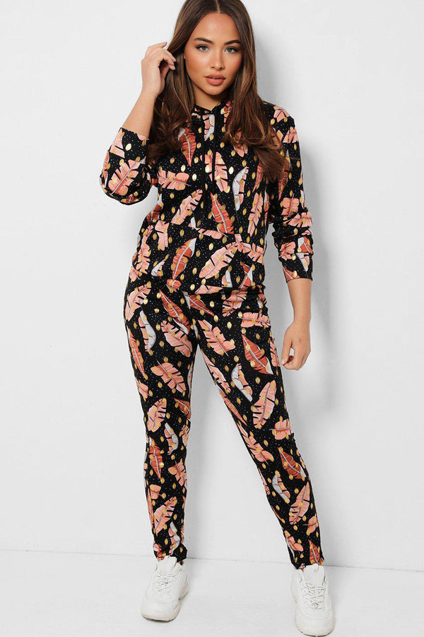 Black Leaves Print Hooded 2 Piece Tracksuit - SinglePrice