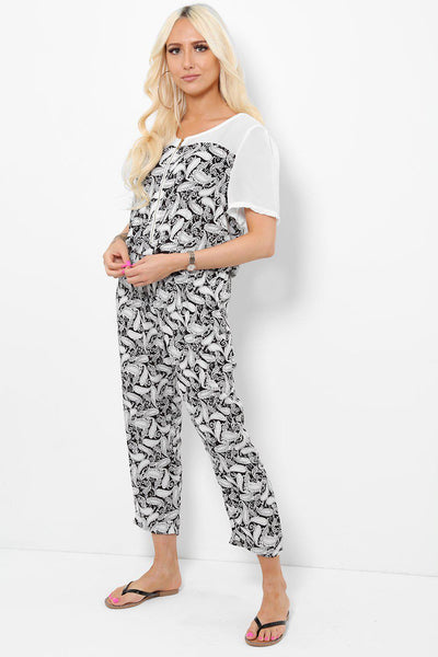 White Paisley Print Mesh Shoulders Jumpsuit-SinglePrice