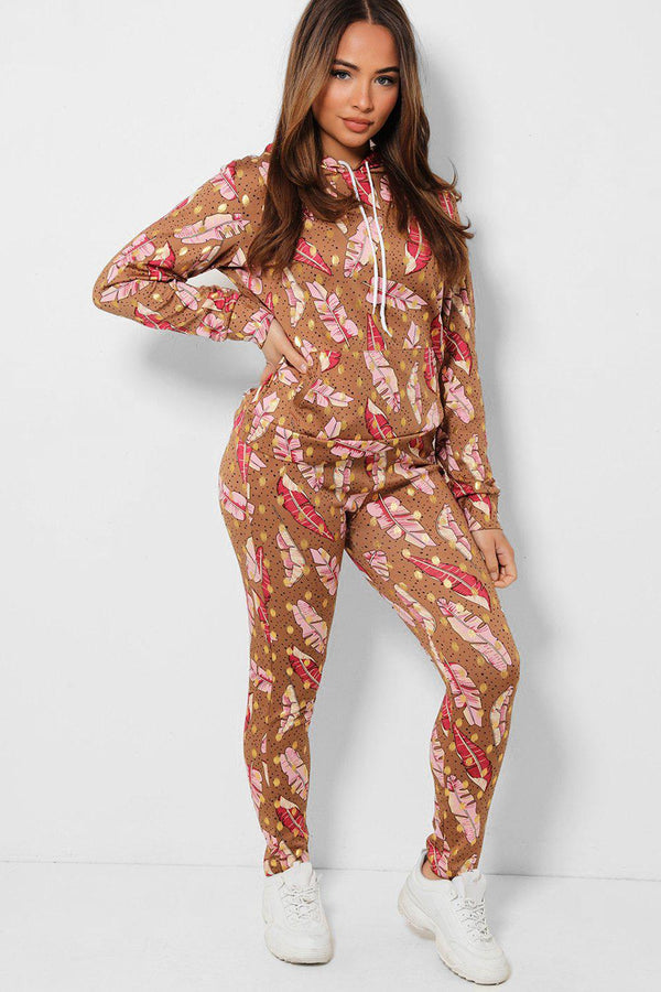 Brown Leaves Print Hooded 2 Piece Tracksuit - SinglePrice