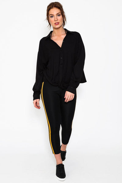 Black Slouchy Twist Front Button Up Blouse-SinglePrice