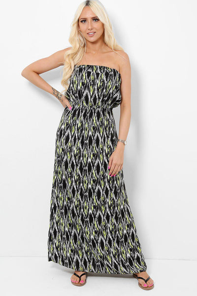 Black Yellow Bandeau Maxi Dress-SinglePrice