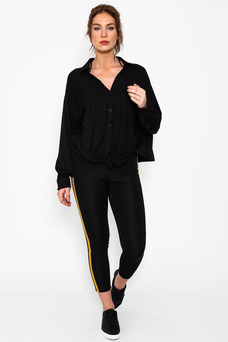 Black Slouchy Twist Front Button Up Blouse - SinglePrice