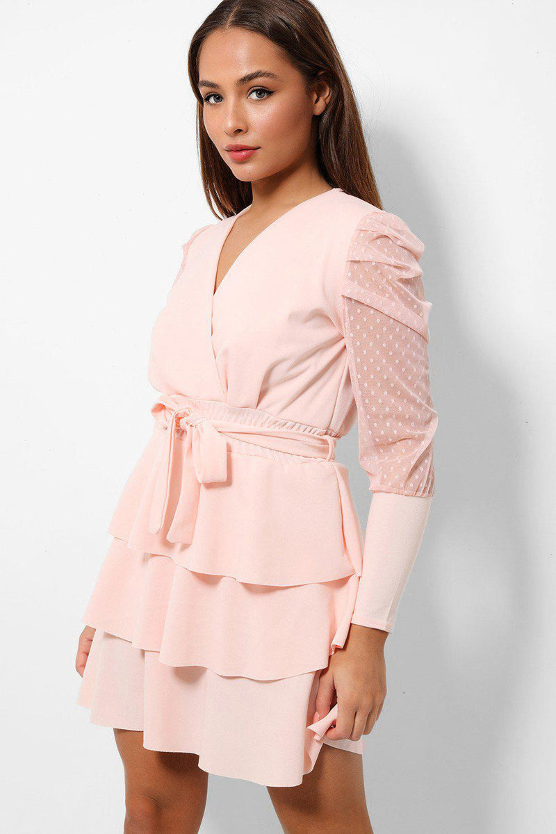 Pink Frilled Skirt Sheer Polka Dot Sleeves Dress - SinglePrice