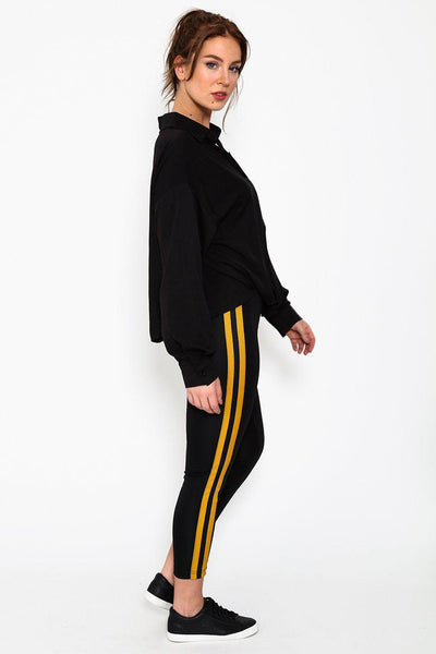 Double Yellow Stripes Black Leggings-SinglePrice
