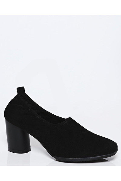 Black Stretch Top Mid Block Heels-SinglePrice