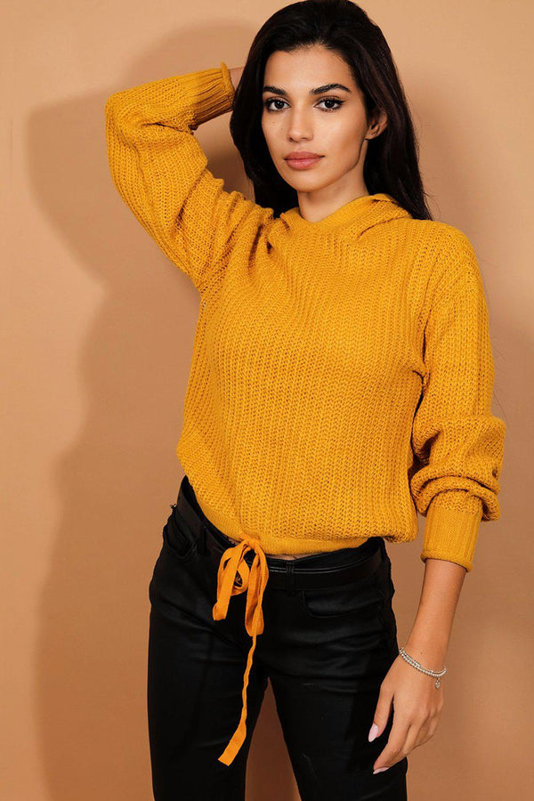Yellow Hooded Cropped Jumper-SinglePrice