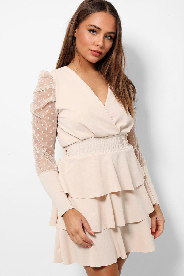 Beige Frilled Skirt Sheer Polka Dot Sleeves Dress - SinglePrice