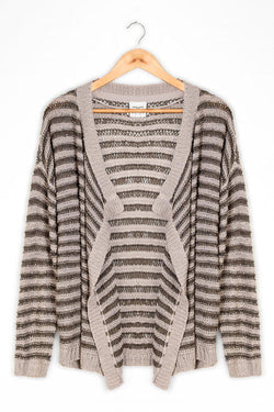 Grey Striped Lose Knit Open Front Cardie - SinglePrice