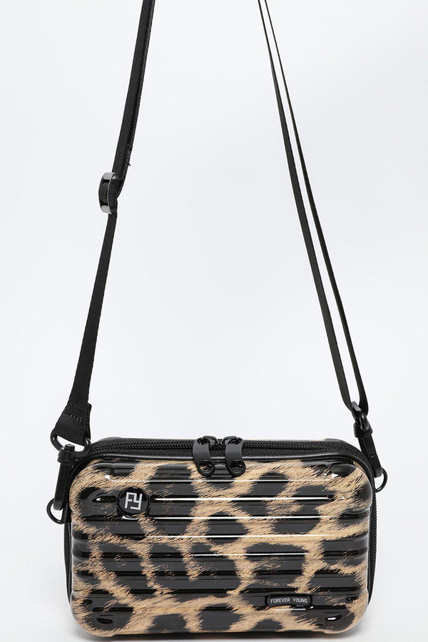 Leopard Print Mini Luggage Case Handbag - SinglePrice