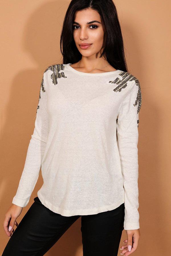 Beige Beaded Shoulders Lightweight Knit Pullover - SinglePrice