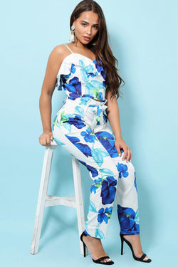 Floral Paperbag Waist Wide Leg Trousers And Frilled Cami Top Set - SinglePrice