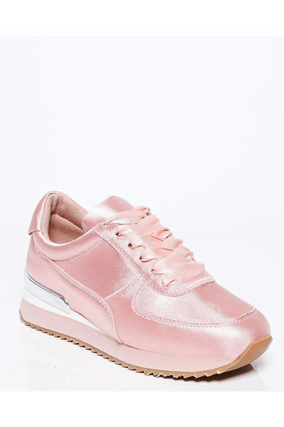 Pink Satin Wedge Trainers-SinglePrice