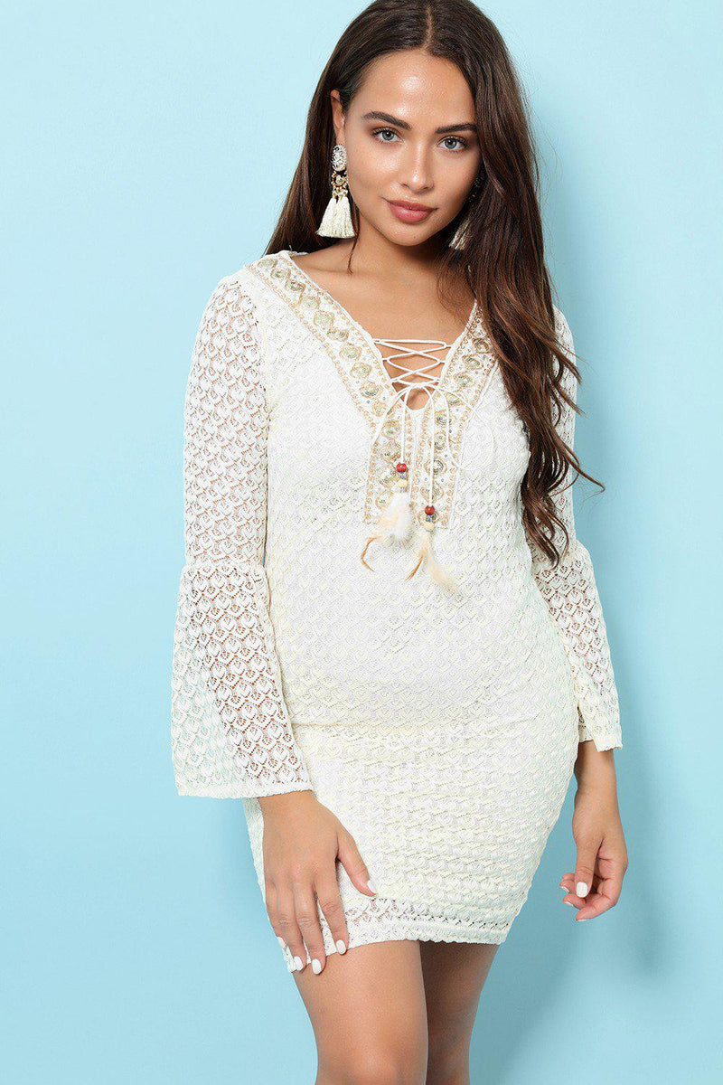 Lace Up Neckline Cream Mesh Dress - SinglePrice