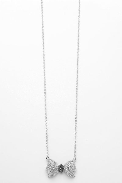 Encrusted Bow Long Necklace-SinglePrice