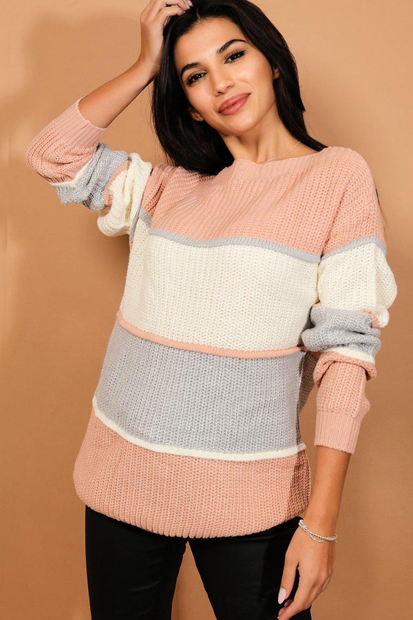 Pink Colourblock Chunky Knit Jumper