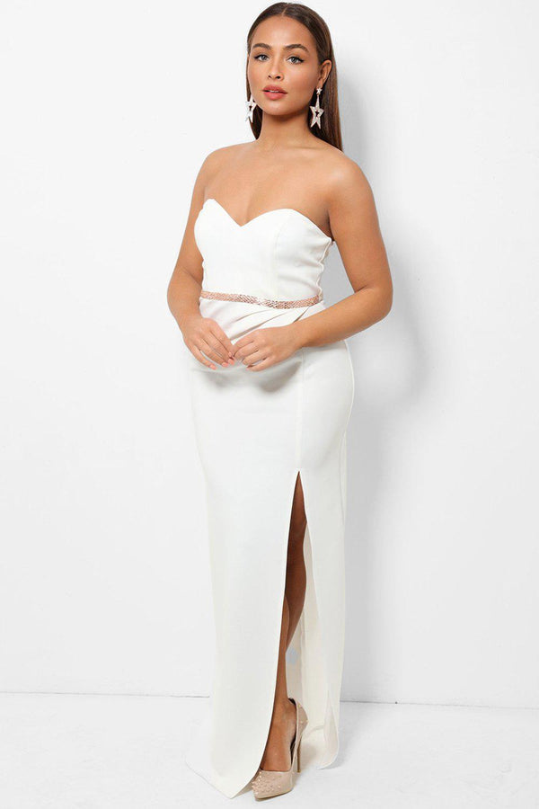 White Bandeau Belt Detail Thigh Split Maxi Dress