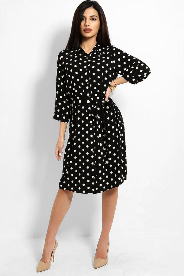 Black White Polka Dot Self Tie Shirt Dress - SinglePrice