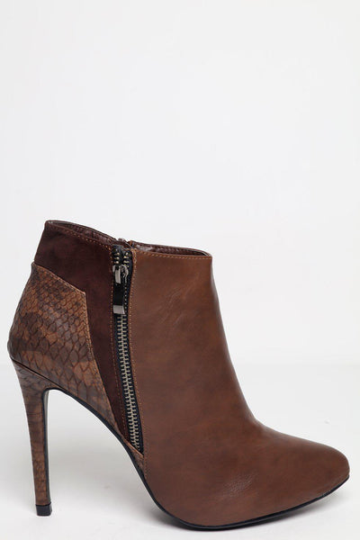 Brown Contrast Faux Leather Ankle Boots-SinglePrice