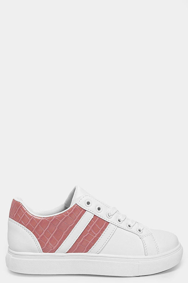 Pink Mock Croc Panels White Vegan Leather Trainers - SinglePrice