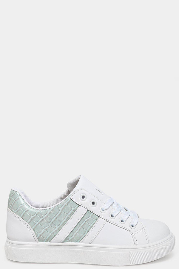 Blue Mock Croc Panels White Vegan Leather Trainers - SinglePrice