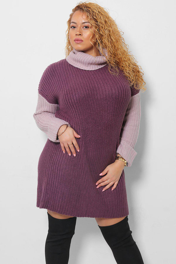 Light Purple & Dark Purple Turtle Neck Knitted Dress - SinglePrice