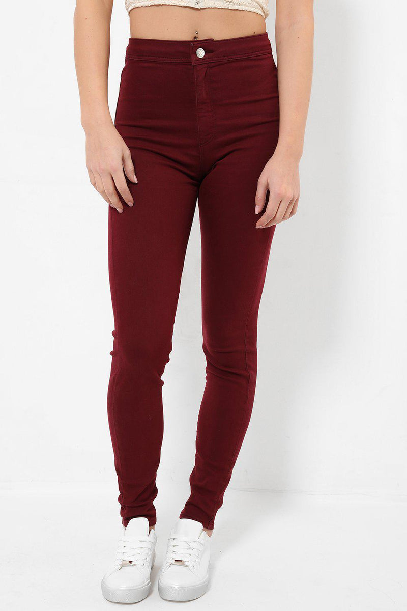 Clear Front Faded Red Skinny Jeans-SinglePrice