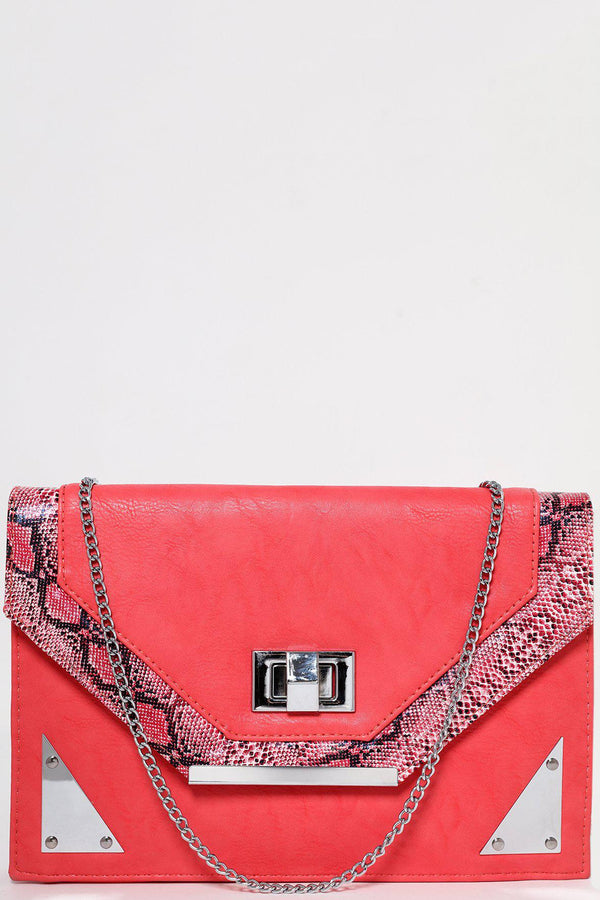 Snake Skin Trim Red Clutch-SinglePrice