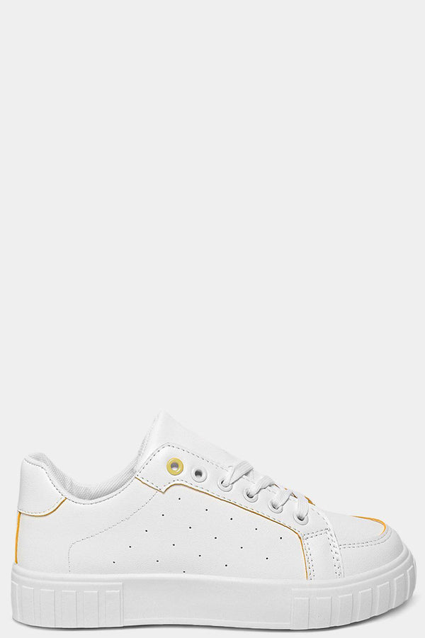 Contrast Yellow Trims White Trainers - SinglePrice