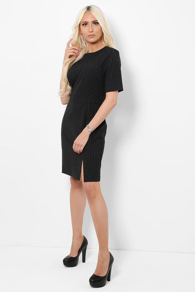 Black Pinstripe Smart Office Dress-SinglePrice