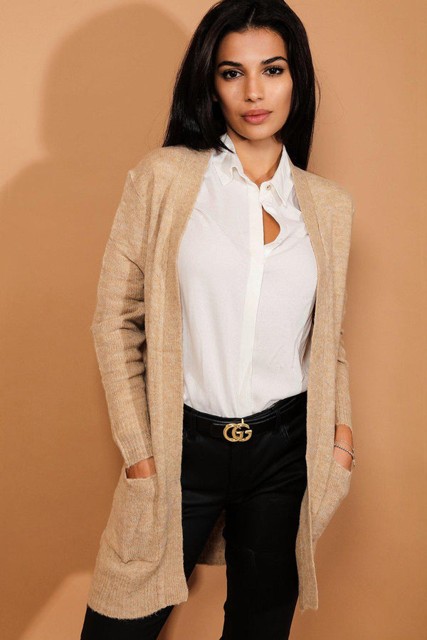 Beige Cloudy Knit Clean Lines Cardigan-SinglePrice