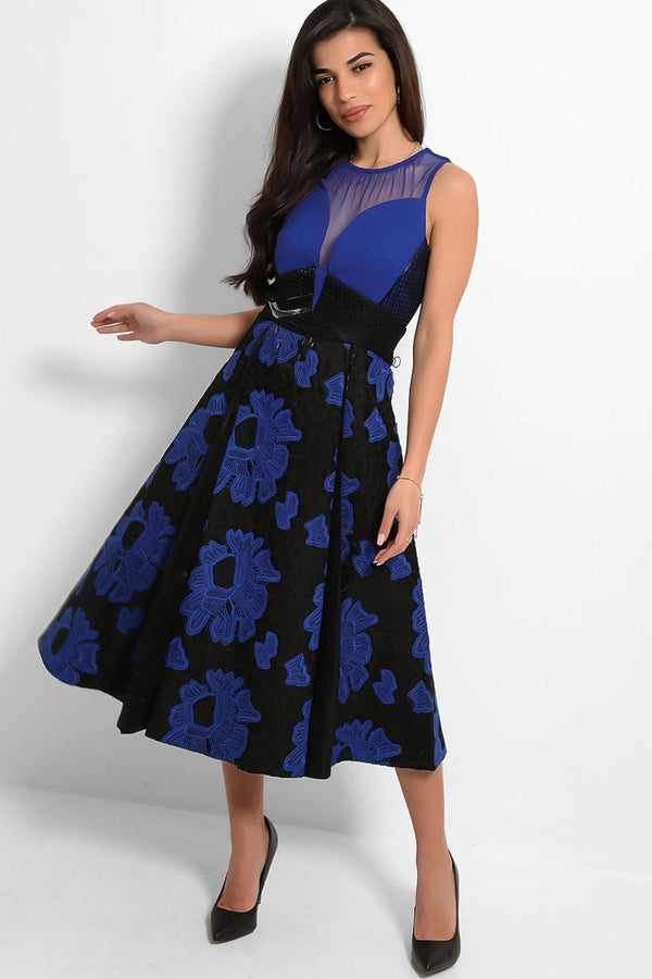 Blue Black Embroidered Skirt Mesh Panels Structured Midi Dress - SinglePrice