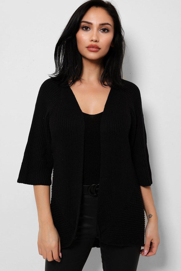 Black Rib Knit Open Front Flute Sleeves Cardigan