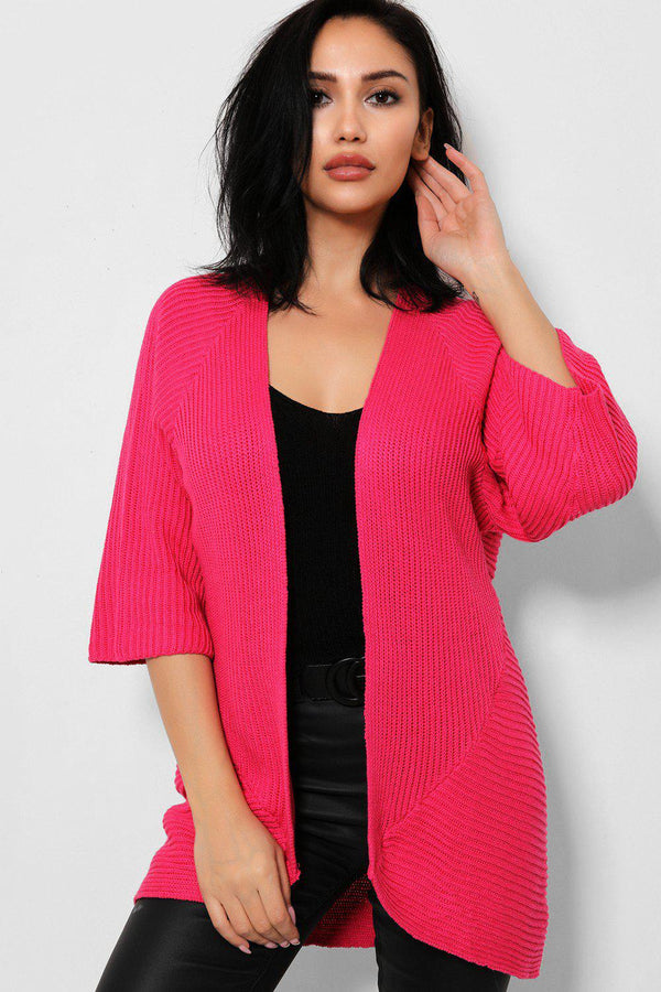 Pink Rib Knit Open Front Flute Sleeves Cardigan