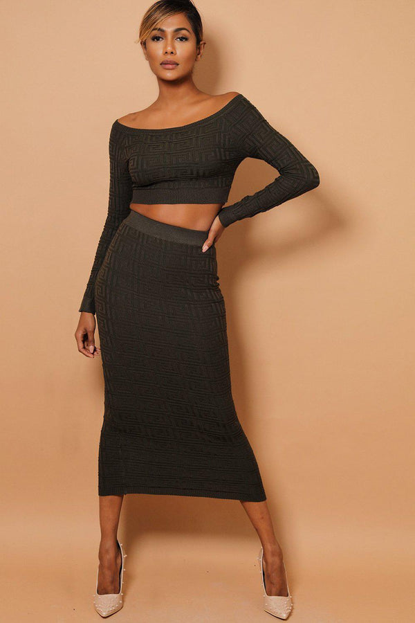Khaki Textured Off Shoulder Top And Midi Skirt Set-SinglePrice