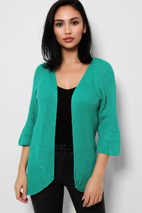 Green Rib Knit Open Front Flute Sleeves Cardigan
