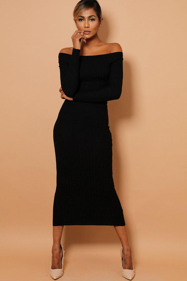 Black Textured Off Shoulder Top And Midi Skirt Set-SinglePrice