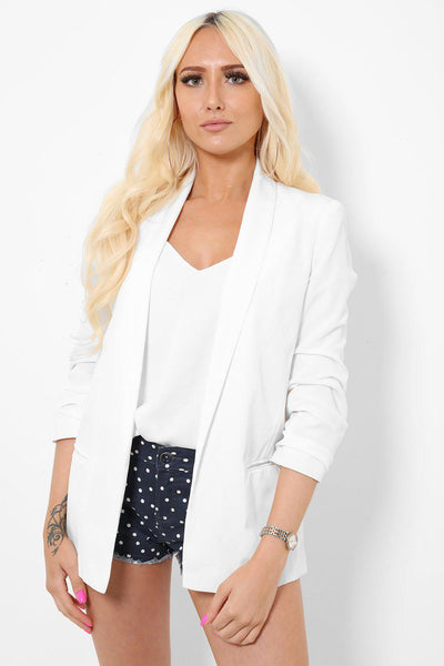Ruched Sleeves Open Front White Blazer-SinglePrice