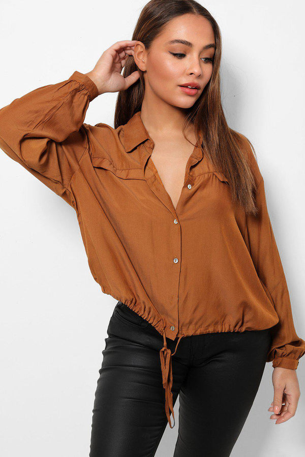 Brown Lightweight Drawstring Hem Crop Shirt-SinglePrice