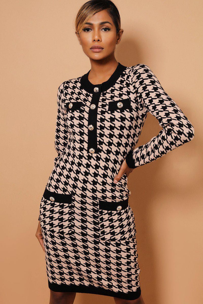 Beige Dogtooth Print Contrast Buttoned Trims Knitted Dress - SinglePrice