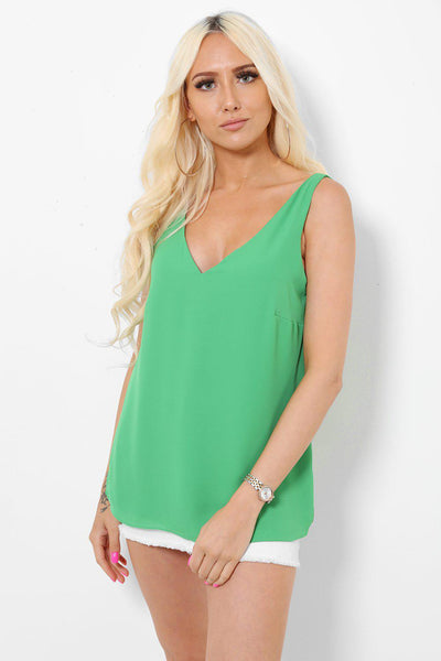 V-Neck V-Back Green Top-SinglePrice