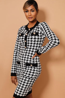 White Dogtooth Print Contrast Buttoned Trims Knitted Dress - SinglePrice