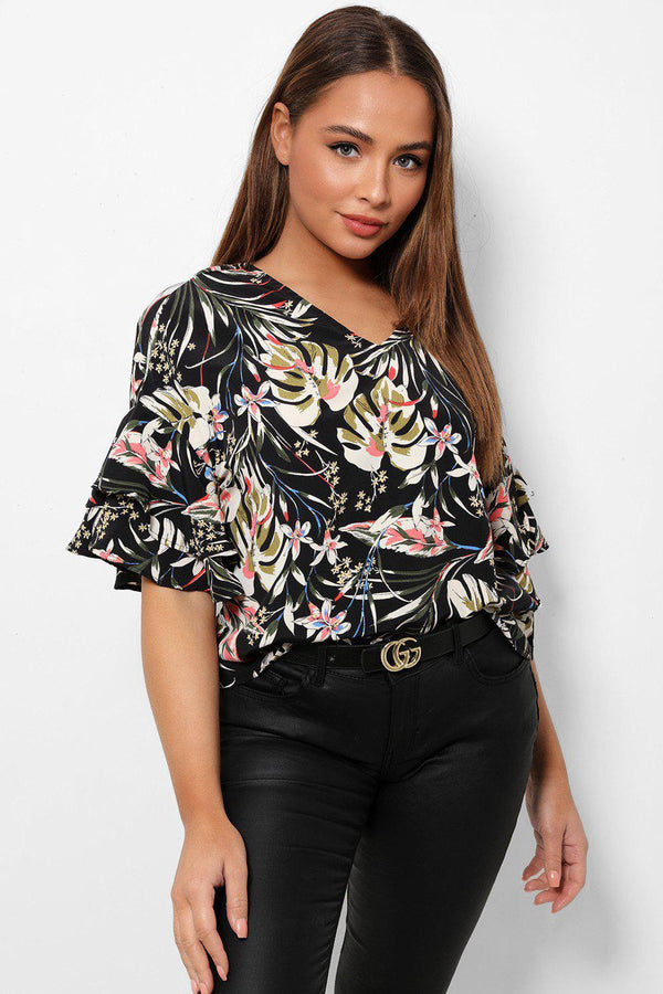 Tropic Print Layered Flute Sleeve V-Neck Top-SinglePrice