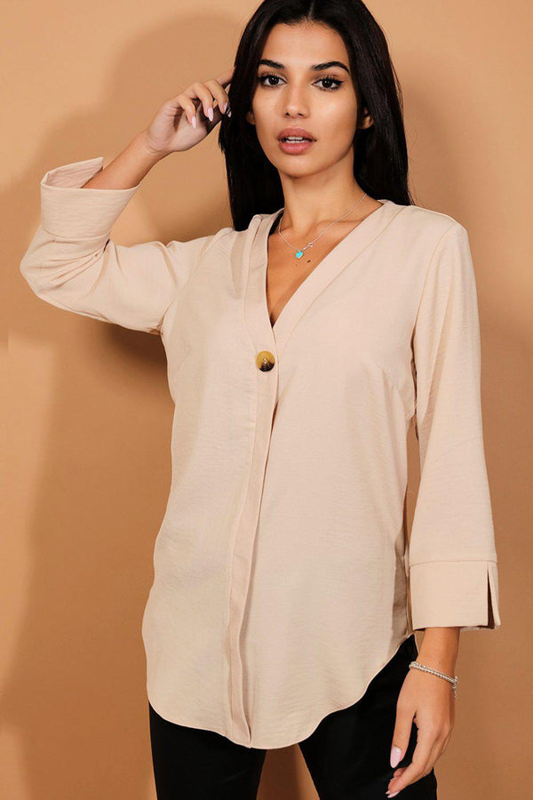 Beige Button Detail Blouse