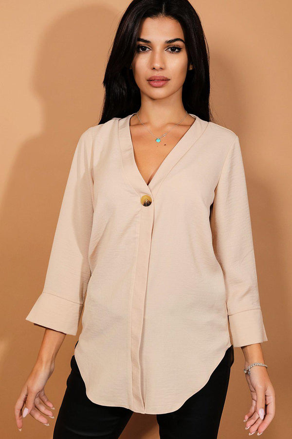 Beige Button Detail Blouse - SinglePrice
