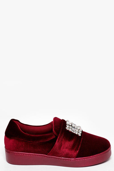 Jewelled Maroon Velvet Slipper Shoes-SinglePrice