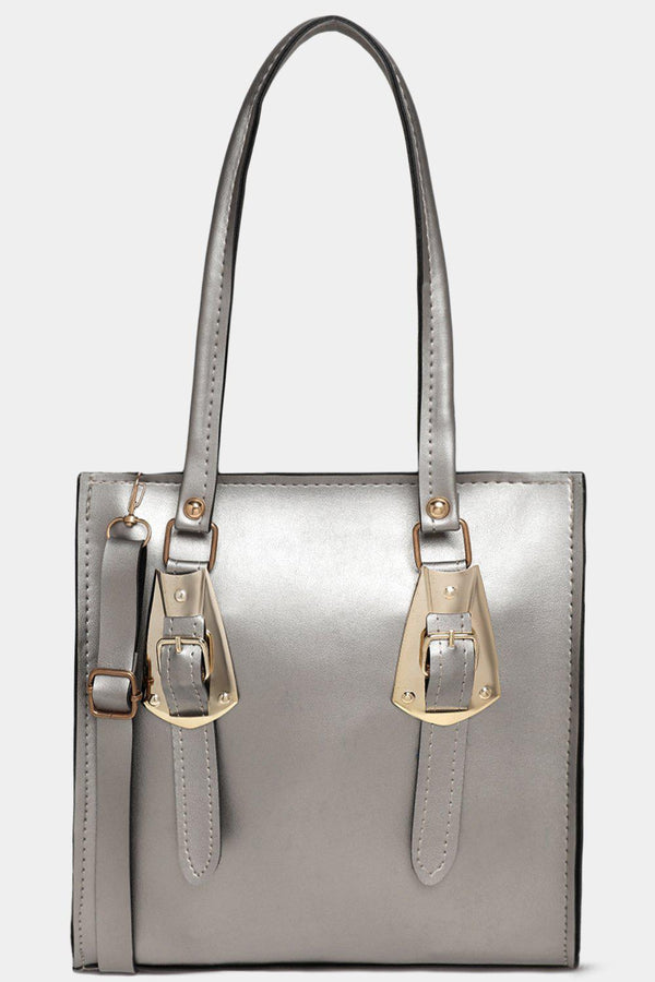 Silver Vegan Leather Double Gold Buckle Detail Handbag-SinglePrice