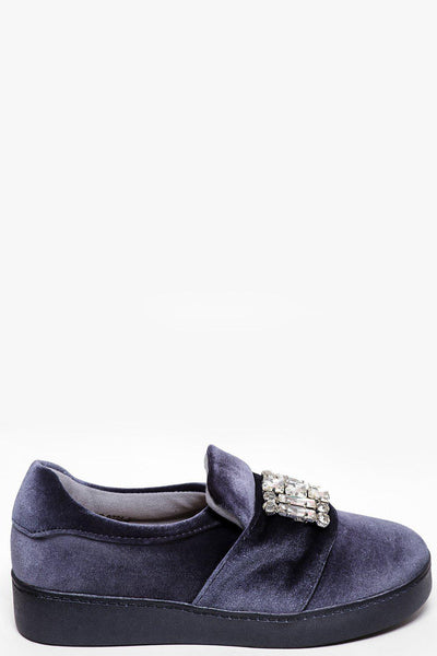 Jewelled Grey Velvet Slipper Shoes-SinglePrice
