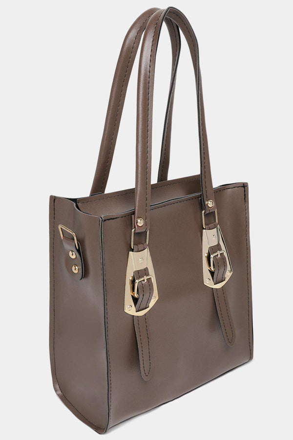 Taupe Vegan Leather Double Gold Buckle Detail Handbag-SinglePrice