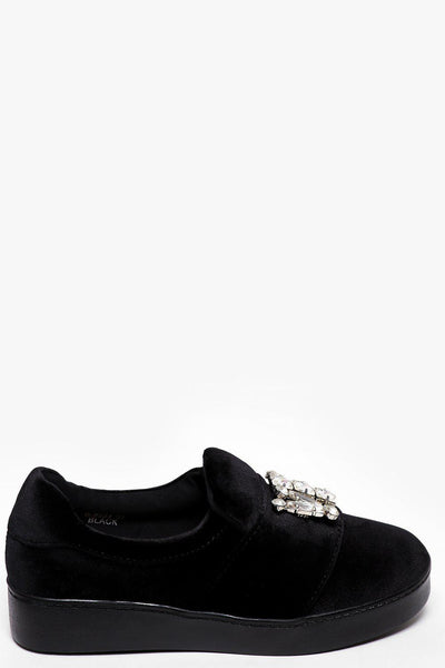 Jewelled Black Velvet Slipper Shoes-SinglePrice