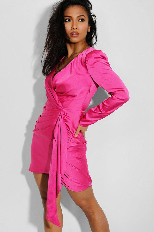 Hot Pink Gathered Side Bodycon Dress - SinglePrice